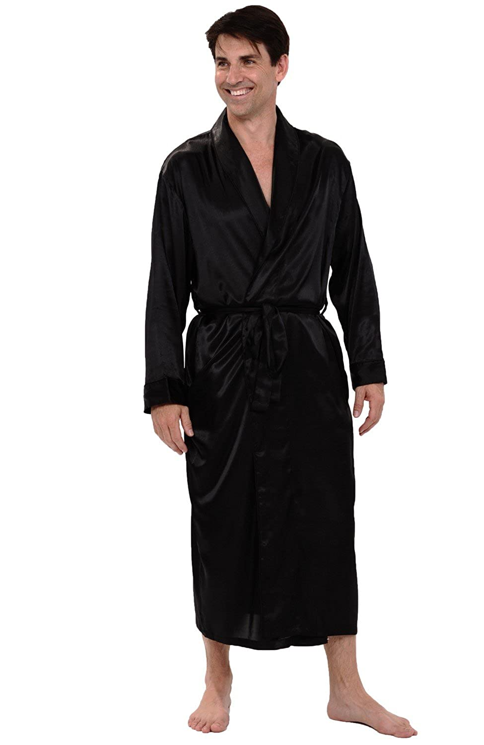 Alexander Del Rossa Mens Satin Solid Color Robe Long Lightweight Loungewear A0720-Solid