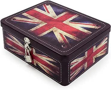 Aoneky Caja de Almacenaje con Tapa y Candado Llave - Caja Decorativa de Almacenaje de Metal Hojalata, Caja Metálica con Dibujo de Bandera del Reino Unido, Decoración de Hogar Casa, Estilo Retro: