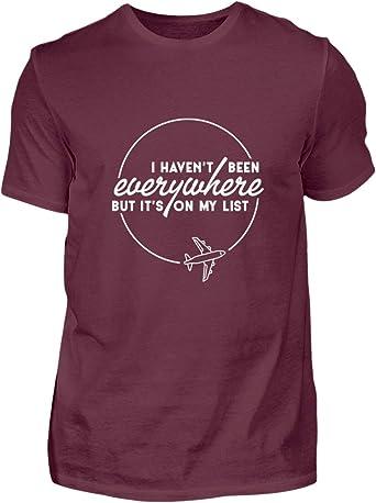 Shirtee Travel The World Lets Travel, Mochila, Viaje, Viajes en el Mundo, Vacaciones, Wanderlust Design - Camiseta para Hombre Granate M: Amazon.es: Ropa y accesorios