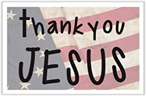 SmithStar Prints Thank You Jesus Yard Sign, Americana Style with Founding Fathers Betsy Ross Flag - Heavy Duty, Double-Sided, with Metal Stake (24 x 18 inches)