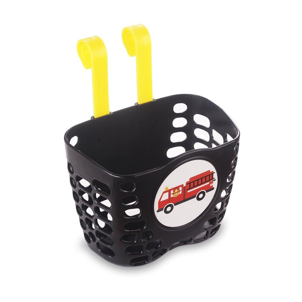 Mini-Factory Kid's Bike Basket, Cute Fire Truck Pattern Bicycle Handlebar Basket for Boy - Fire Truck by Mini-Factory (Image #3)