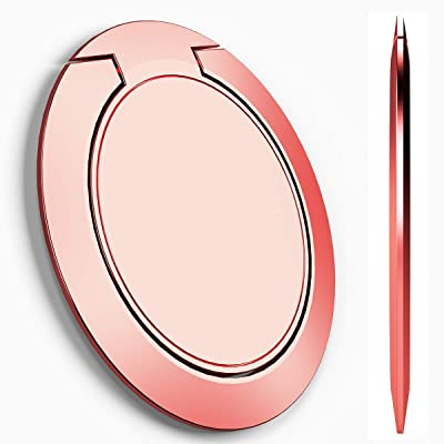 World's Slimmest Phone Ring Holder,Attom Tech Ultra Thin Cell Phone Ring Stand Magnetic Car Mount Hook Matte Center Compatible for iPhone X 8 7 Plus 6S 6 5s 5 SE,Galaxy S8 S7 S6 Edge,Note (Rose Gold)