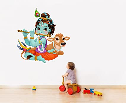 28d86de152 Buy Rawpockets 'Lord Krishna Flute Playing with Cow' Wall Sticker (PVC Vinyl,  80 cm x 74cm) Online at Low Prices in India - Amazon.in