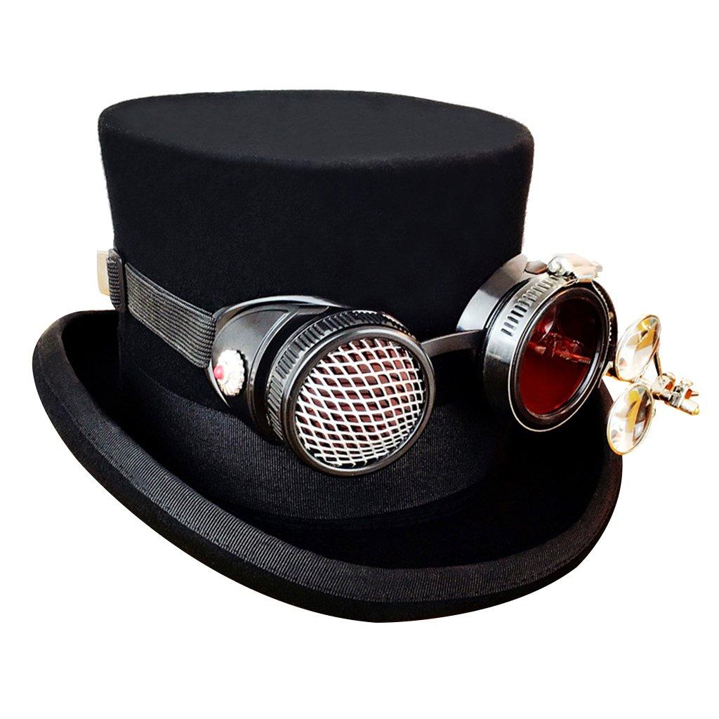 MagiDeal Sombrero Steampunk Negro Estilo Vintage Victorian con Gafas Decoración Cosplay - L