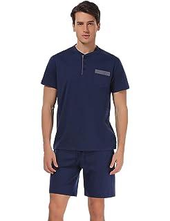Pijama Hombre Verano Raya, Hombre Ropa de Dormir de algodón, Ropa de Dormir de Manga Corta Camiseta Superior & Pantalones Cortos Pijama Clásico Conjunto: Amazon.es: Ropa y accesorios