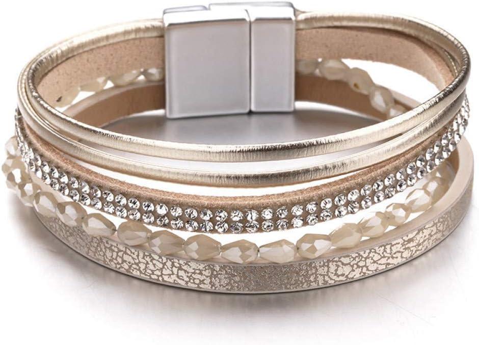 SHOUAQI vikingo pulsera cuero hombre brazalete Pulseras de cuero de cuerda delgada para las mujeres de la joyería de moda de cristal acrílico perlas de ancho de múltiples capas pulsera femenina Bijoux