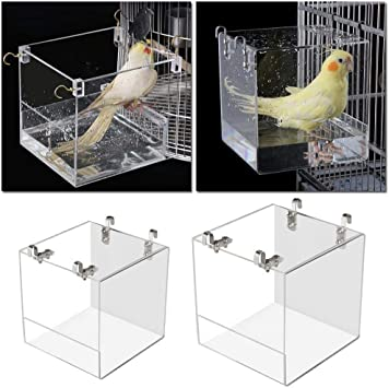 XCSM Transparent Hanging Birds Bath Cube Shower Bathtub Hooks Acrylic Parrot Bathing Box Bowl Cage Wash Cleaning Grooming Accessorie for Budgerigar Peony Bird