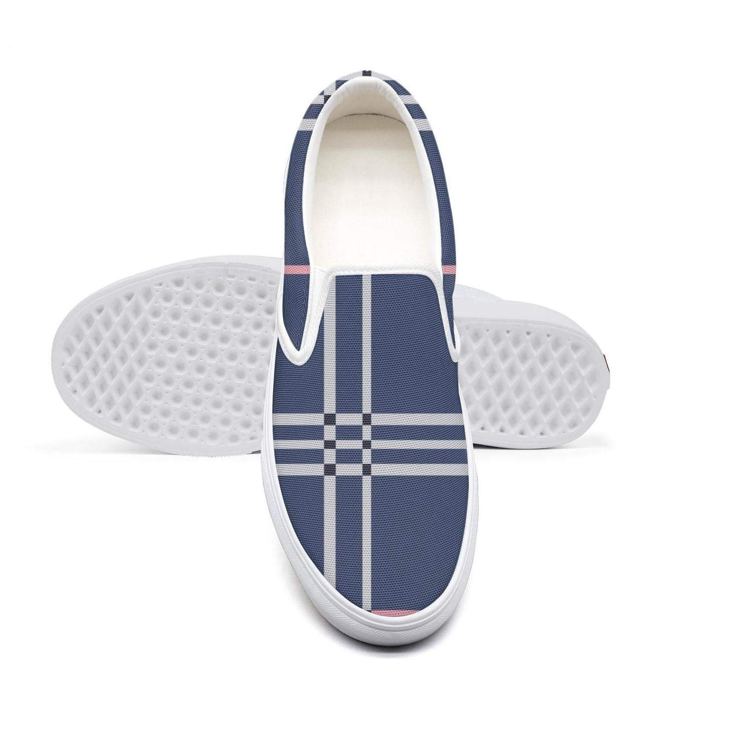 Plaid Printing Blue Casual Loafers Womens Designer Slip on Canvas Training Shoes