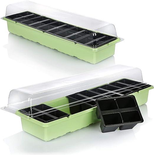 com-four® 2X Caja de Cultivo para Cultivar un Total de 40 plántulas: Conjunto de Cultivo para el balcón, con bañera, Tapa y 40 macetas (2 Piezas - Caja de Planta 54x14.5cm): Amazon.es: