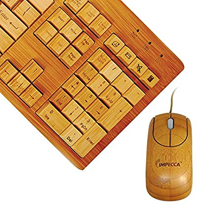 ada9813305f Amazon.com: Impecca Full Bamboo Custom Carved Designer Keyboard and Mouse  Combo (KBB501C): Computers & Accessories