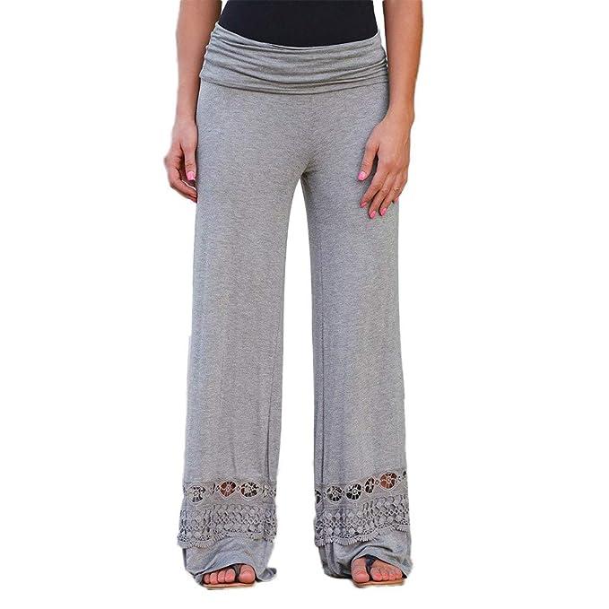 Mujer Pantalones Tallas Grandes Elasticos Invierno Casual Diario Cintura  Alta Costura De Encaje Ancho Pantorrilla Pierna 97c4cfacc794