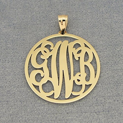 3 Initials Circle Monogram Solid 10k or 14k Gold Pendant 1 inch Diameter GM42 by Soul Jewelry Inc
