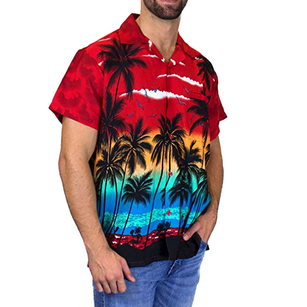 Forthery Mens Hawaii Casual Patchwork Button Down Short Sleeve Round Collar T Shirt Slim Fit Top Blouse(Red,US Size XL = Tag 2XL)