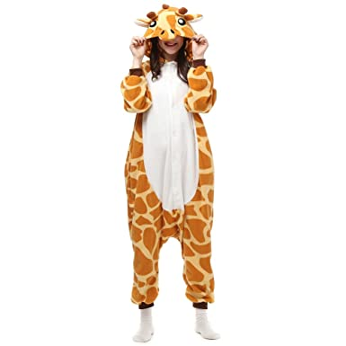 Xiqupjs Giraffe Jumpsuit Christmas Pyjamas Adult Costume Anime Cosplay Homewear Small