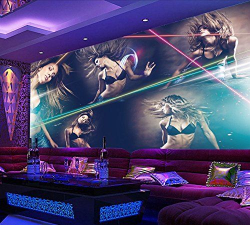 Yosot Sexy Beauty Hotel Bar Mural Night Club Ktv Custom 3D Photo Wallpaper Background Sexy Beauty Music Bar Wallpaper-200Cmx140Cm