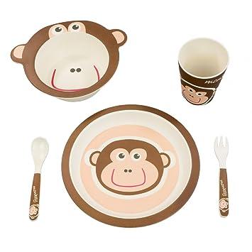 Kindergeschirr set   Buntes Bambus Geschirr und Besteck Set mit Motiven
