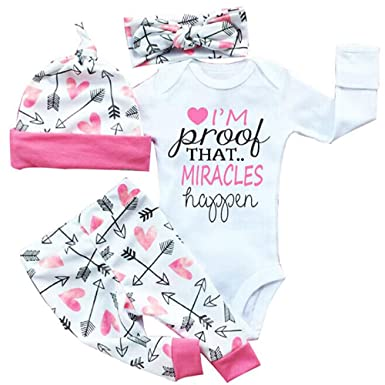 288a77e34 Amazon.com  Opperiaya 4 Pcs Newborn Baby Girls Clothes Miracles ...