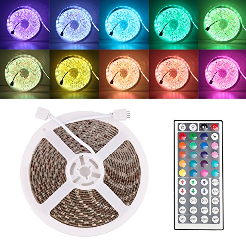 RGB LED Rope Light, 16. ft Waterproof IP65 LED Strip Lights Color Changing Flexible SMD 5050 300 LEDs Lighting Tape with  Key Remote for Outdoor Indoor Festival Decorations - Alanda 4
