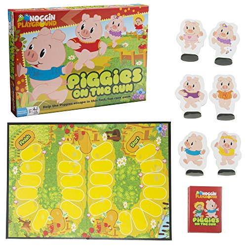 es On the Run - Basic Counting Game Features Game Board, 54 Action cards, 6 Piggie Pieces and 6 Playing Stands (Ages 3+) ()
