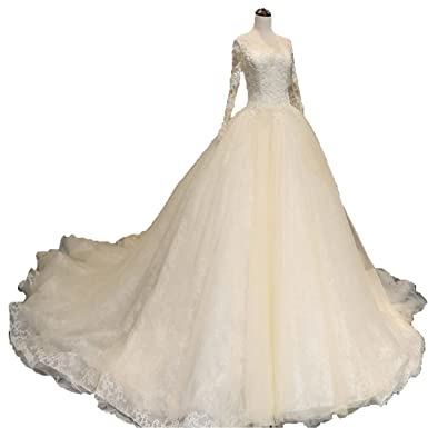 Shushaliying Womens 2018 Long Sleeves Lace Chapel Wedding Gown Tails Applique Bridal Dress At Amazon Clothing Store