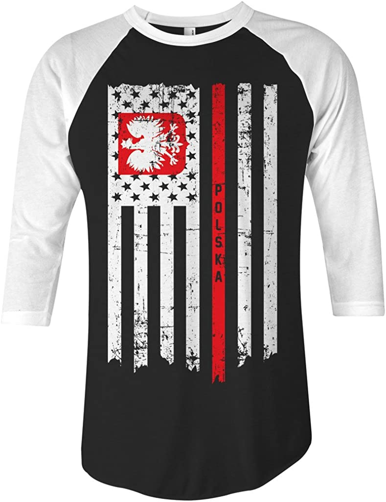 Threadrock Poland USA Polish American Flag Unisex Raglan T-Shirt