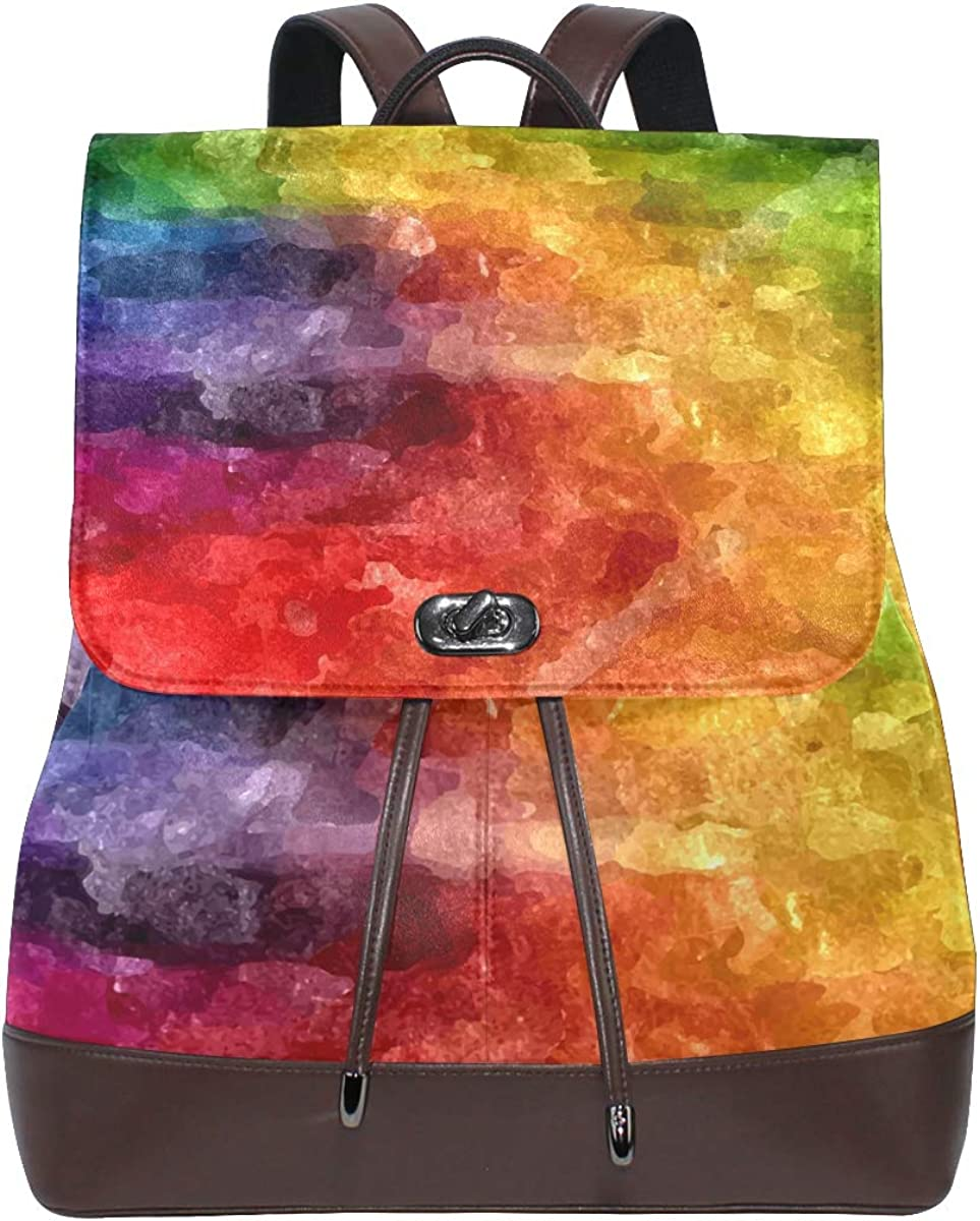 KEAKIA Women PU Leather Abstract Rainbow Backpack Purse Travel School Shoulder Bag Casual Daypack
