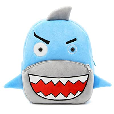 "Cute Toddler Zoo Backpack Little Girl Plush Bag Animal Cartoon 10"" Preschool Book Bag For 1, 2, 3, 4 Years Girls, Shark 