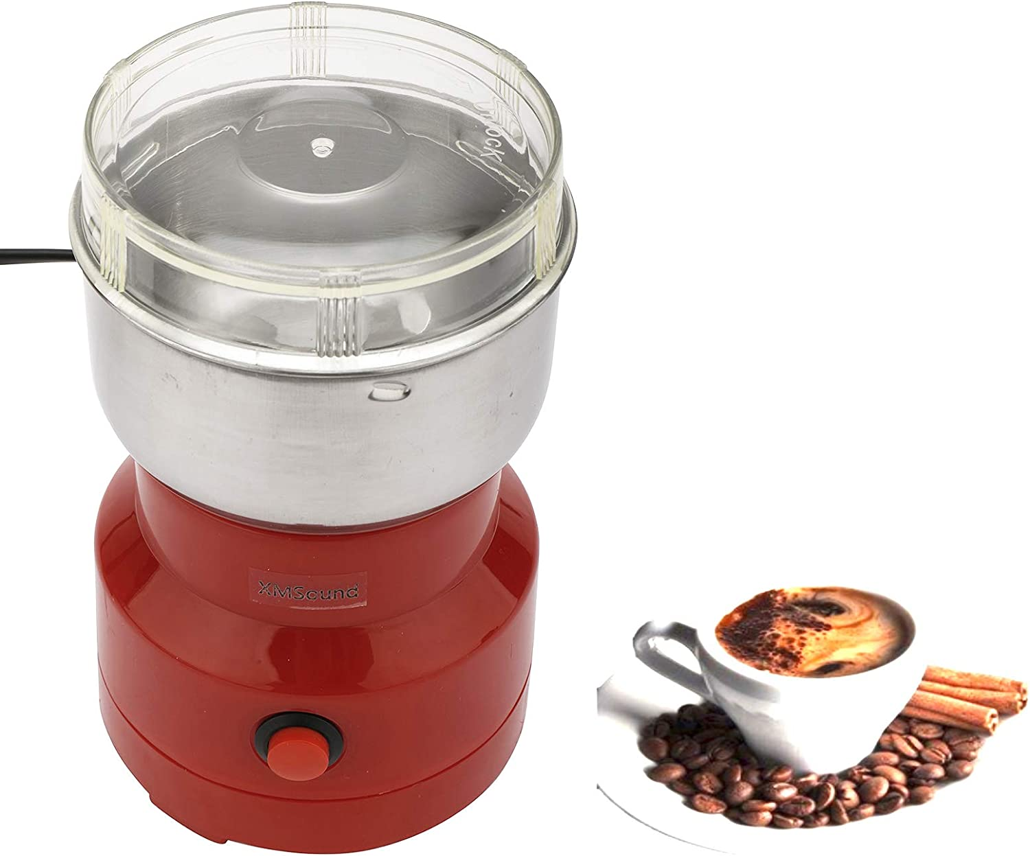 XMSound Multi-Function Grinder,150W Multi-Function Coffee Grinder Food Spice Mill Smash Machine for Home Herbs/Spices/Nuts/Grains/Coffee Bean Grinding (Red)