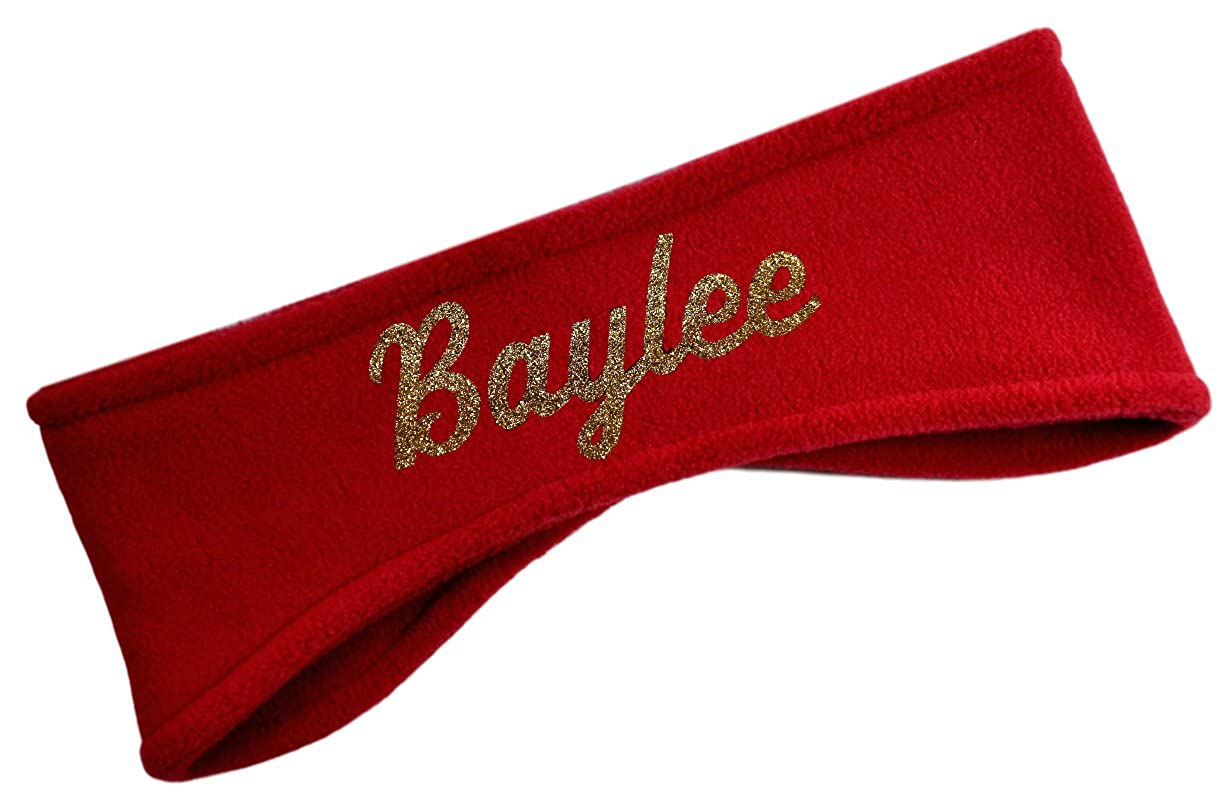 Polar Fleece Ear Warmer Headbands with Custom GLITTER Text for Cold Weather PERSONALIZED FGDFLEECEHBDYO-GLITTER7