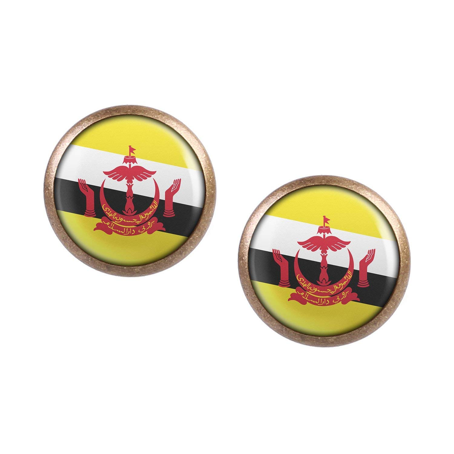 Stud Earring Pair with Cabochon Picture Brunei Bandar Seri Begawan Flag bronze different sizes