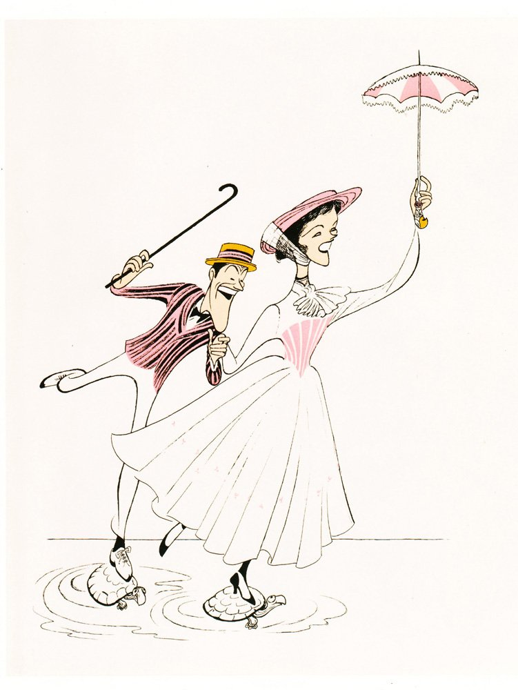 AL HIRSCHFELD Hand Signed, JULIE ANDREWS and DICK VAN DYKE in MARY POPPINS, SUPERCALIFRAGOLISTIC, Limited-Edition Lithograph THE MARGO FEIDEN GALLERIES LTD. New York