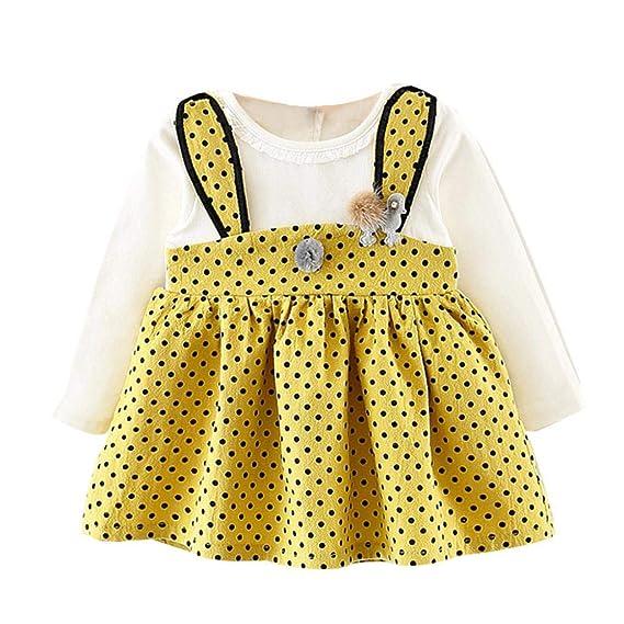 Sencillo Vida Vestido Bebe Niña de Manga Larga Floral Impresión Vestido de Fiesta Vestido Princesa Niña