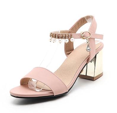 Oaleen Sandales Bout Ouvert Femme Talons Moyen Bride Cheville Chaussures  Eté Sexy Rose 32 b8b85ff898e9