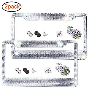 Bling-License-Plate-Frame-Premium-Stainless-Steel-Metal-License-Plate