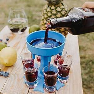 Semlos 6 Shot Dispensers and Holder, Cold Drink Dispenser, Small Bar Shots Dispenser for Flling Liquids, Cocktail Dispenser, Drinking Games, Multiple 6 Shot Dispensers (Blue)