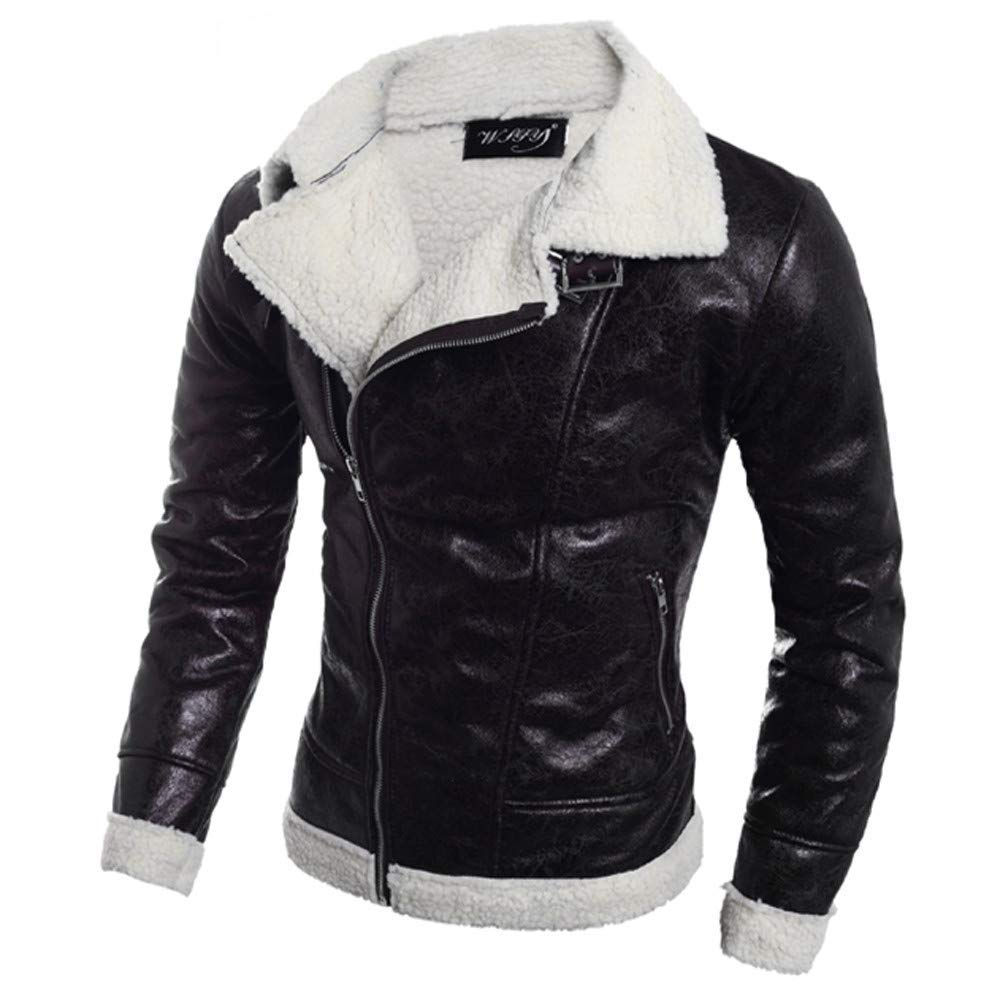 KAOKAOO Mens Warm Fur Liner Lapel Zip up Fitted Faux Leather Outwear Moto Jacket
