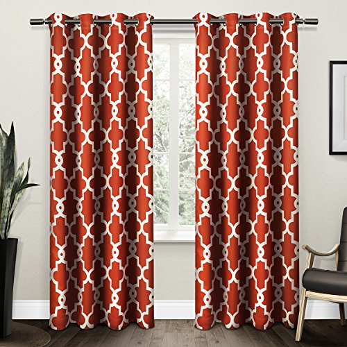 Exclusive Home Ironwork Sateen Woven Blackout Window Curtain Panel Pair  With Grommet Top 52x96 Mecca Orange 2 Piece