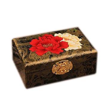SHI XIANG SHOP Caja De Joyería De Madera Pintada A Mano Tamaño De Oro: 19cmX12.5cmX8cm A+ (Color : Peony) : Amazon.es: Hogar