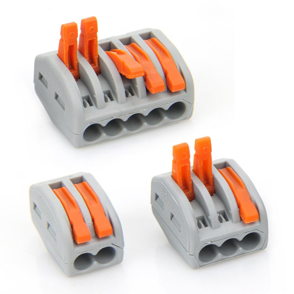 AUSPA 222-412 (30) 222-413 (30) 222-415 (30) Lever-Nut Assortment Pack Conductor Compact Wire Connectors Pack-90pcs