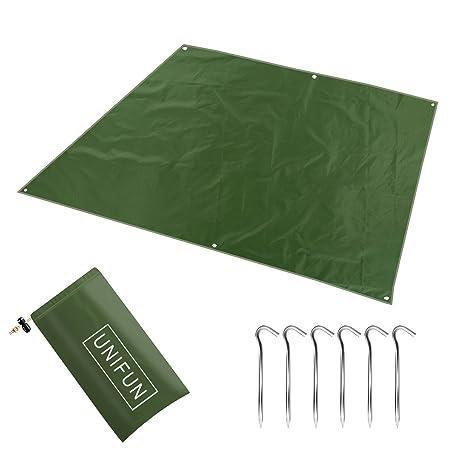 UNIFUN Waterproof C&ing Tarp 94u0026quot; x 87u0026quot; for Picnics Tent Footprint and  sc 1 st  Amazon.com & Amazon.com : UNIFUN Waterproof Camping Tarp 94