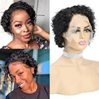 A ALIMICE Curly Pixie Cut Lace Front Wigs 13x4 Kinkys Curly Human Hair Wig for Black Women Brazilian 6 Inch Virgin Hair Wigs 150% Density Pre Plucked Natural Black Color