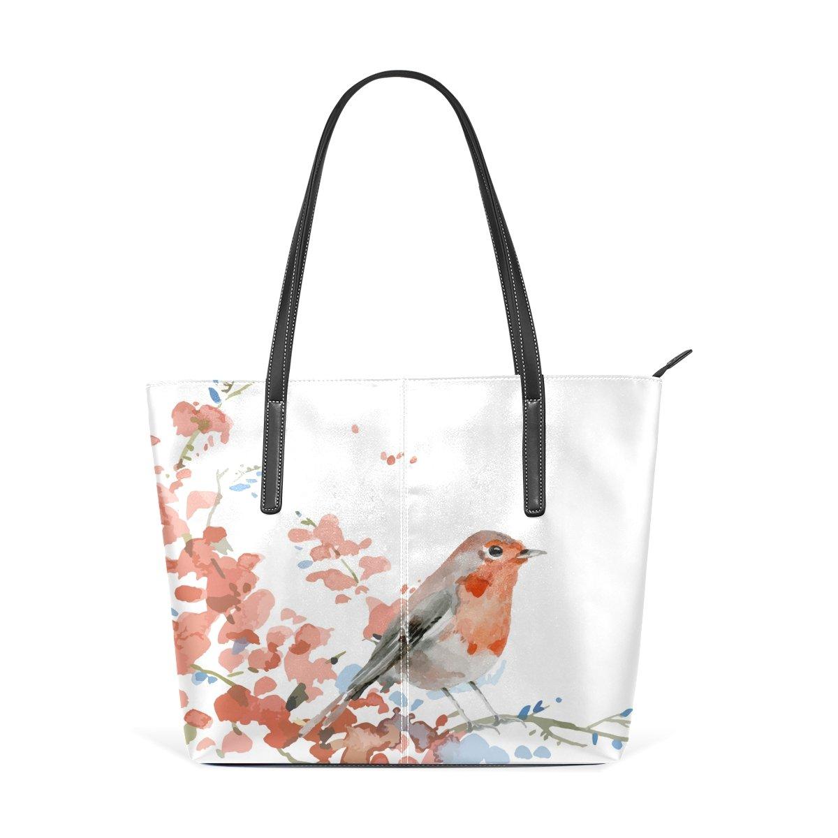 Womens Leather Top Handle Shoulder Handbag Ink Flower And Bird Large Work Tote Bag