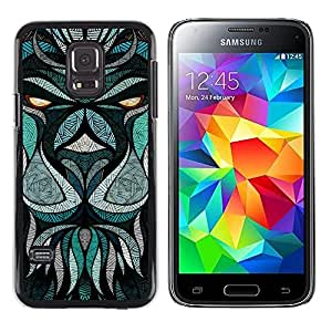 LECELL--Funda protectora / Cubierta / Piel For Samsung Galaxy S5 Mini, SM-G800, NOT S5 REGULAR! -- Teal Abstract Animal Eyes Cartoon --