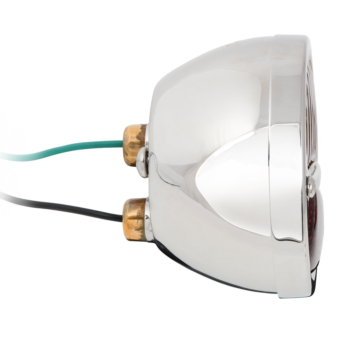 KNS Accessories KA0031 6V Stainless Steel Duolamp Tail Light for Ford Model A with AmberSTOP Script on Red Glass Lens