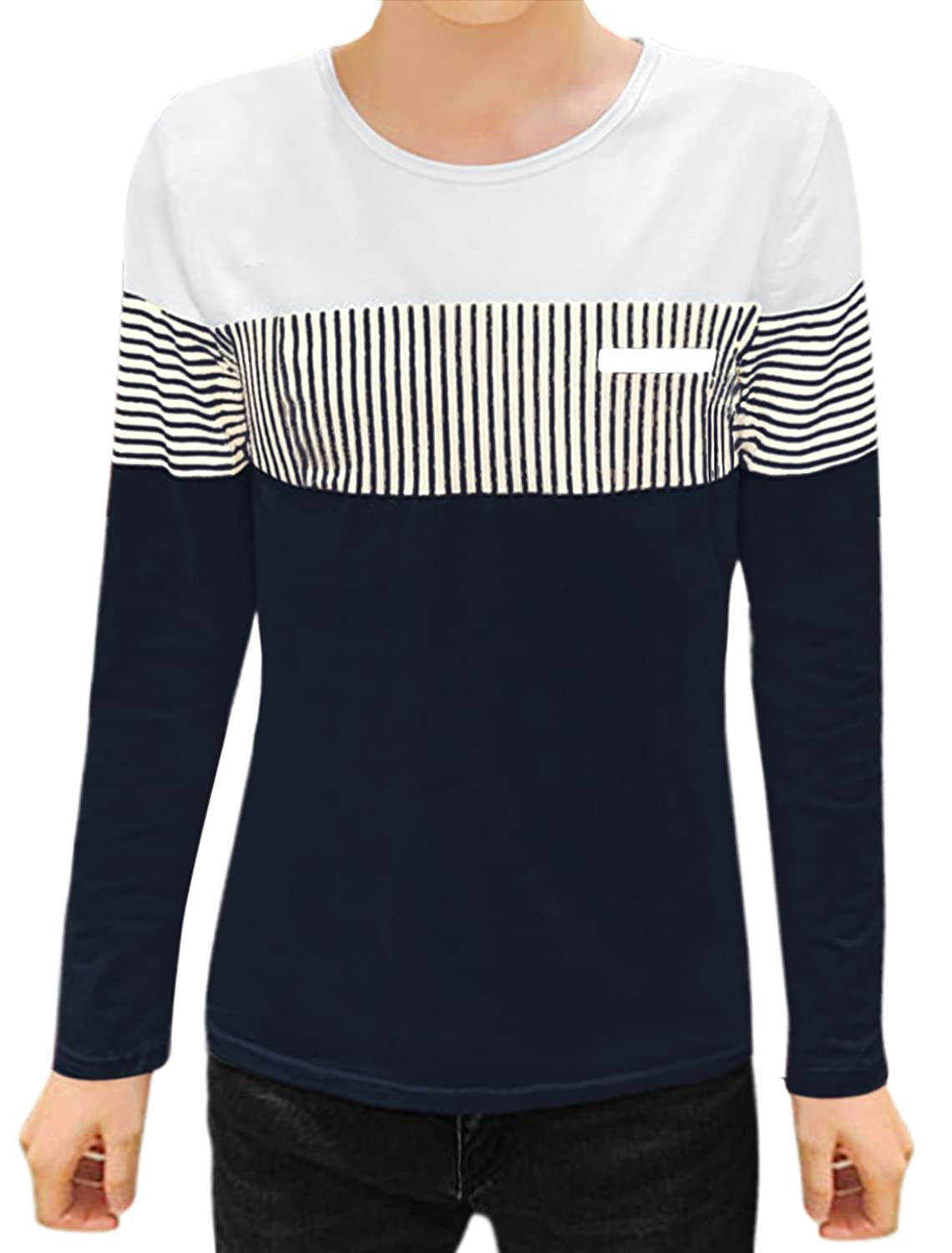 Men Long Sleeves Round Neck Contrast Color Stripes Tee Shirt