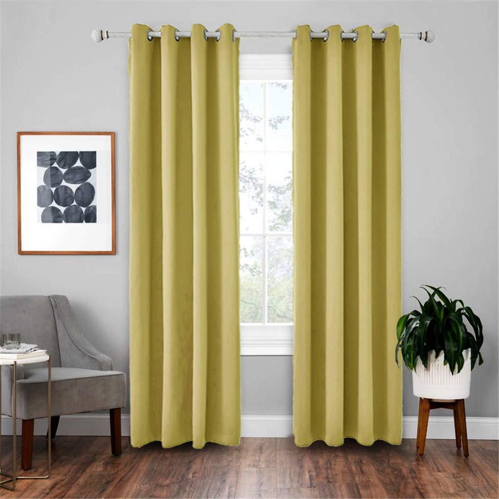 Lifechange Solid Color Curtain,2 Panel Grommet Blackout Room Curtain Panel Soft Thermal Insulated Room Darkening Window Drape for Any Bedroom or Patio Door(Yellow) by Lifechange Cartains