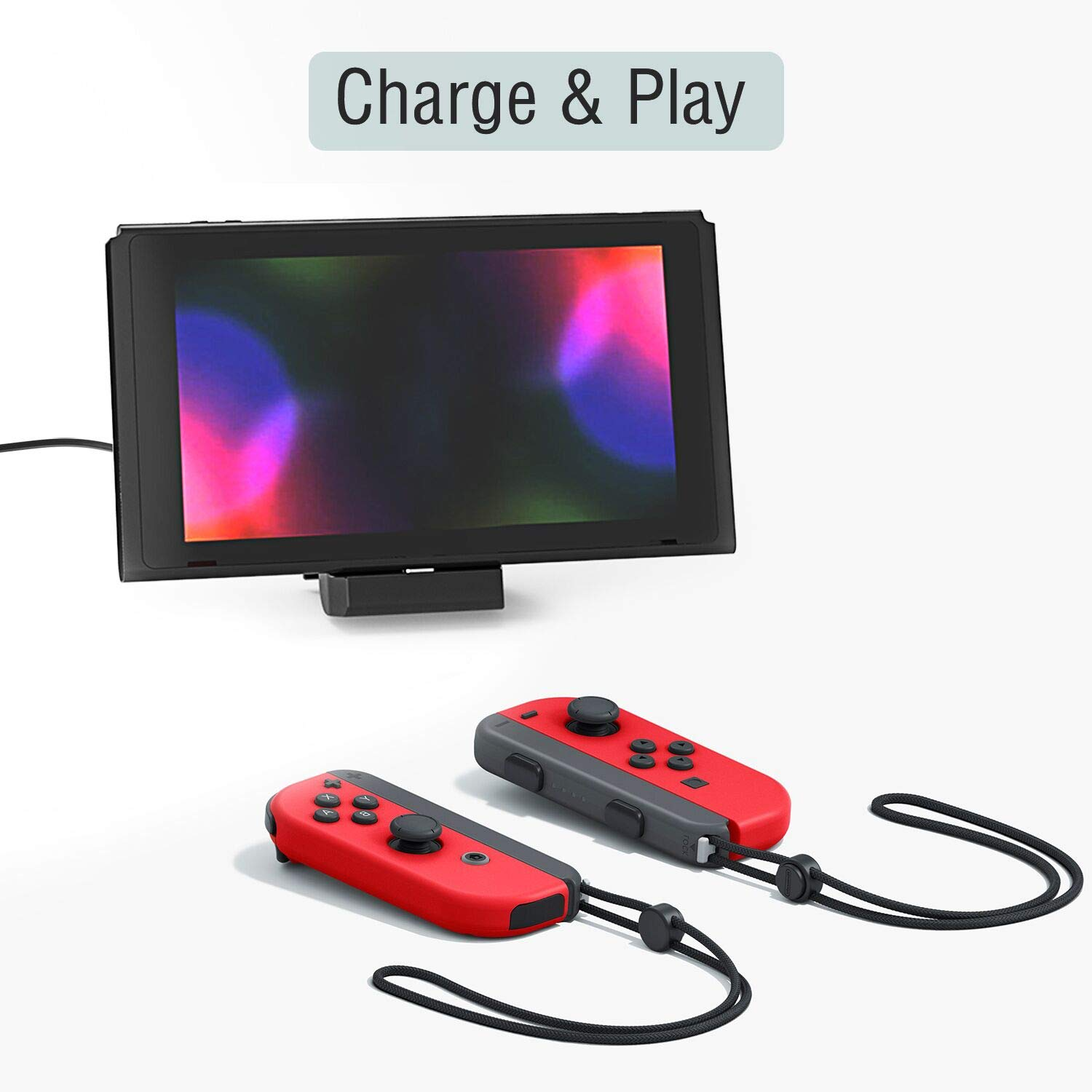 Adjustable Charging Stand for Nintendo Switch, Portable Multi-Angle Playstand Charging Dock for Nintendo Switch Console with Type C Charging Port