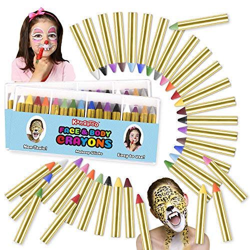 Halloween Faces For Kids (Kangaroo's Ultimate Body Paint and Face Paint Kit; 32 Face Paint Crayons for Fun Face Painting, Kids)