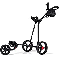 Tangkula Golf Push Cart 3 Wheels Folding Lightweight Golf Club Push Pull Cart Trolley Golf Pull Cart
