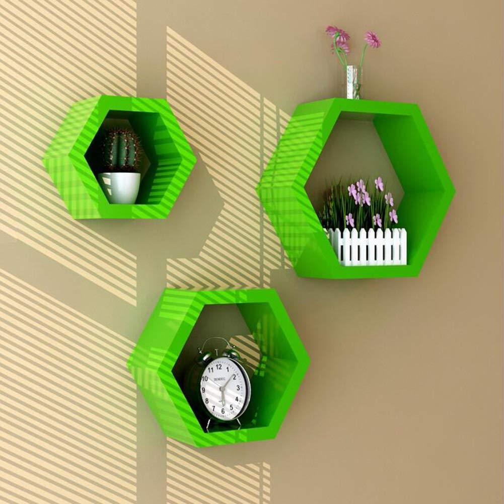 Storage Shelf, Wall Partition Living Room Wall Mount Diamond Hexagonal Box Creative Lattice Fashion Art Yixin (Color : E, Size : 1616cm/2421cm/6026cm)